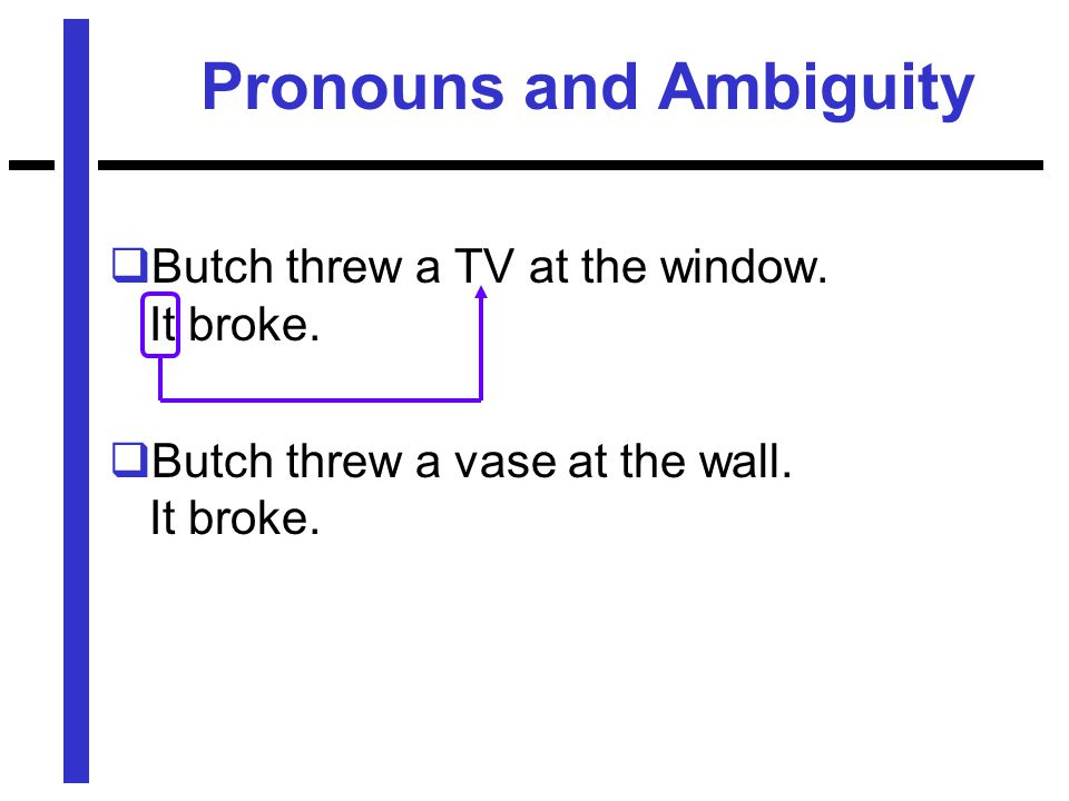 Pronouns and Ambiguity  Butch threw a TV at the window.