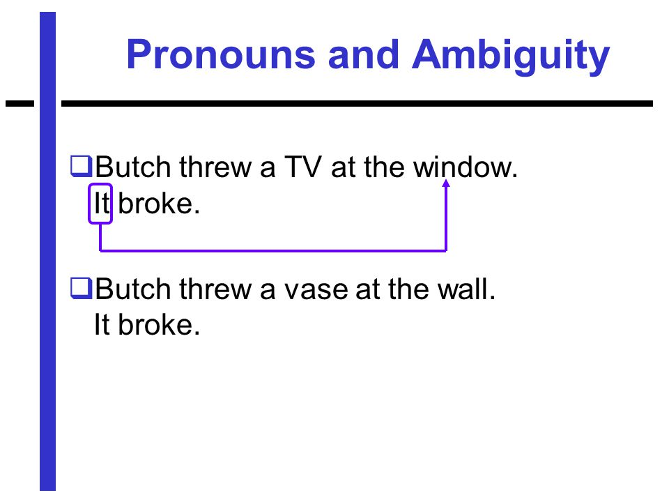 Pronouns and Ambiguity  Butch threw a TV at the window.