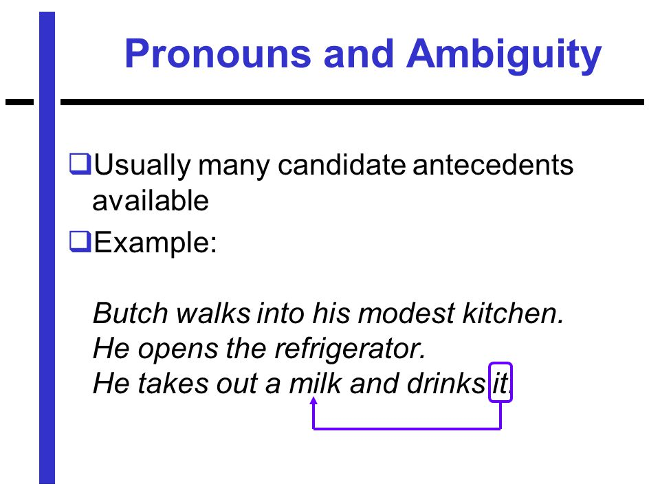 Pronouns and Ambiguity  Usually many candidate antecedents available  Example: Butch walks into his modest kitchen.