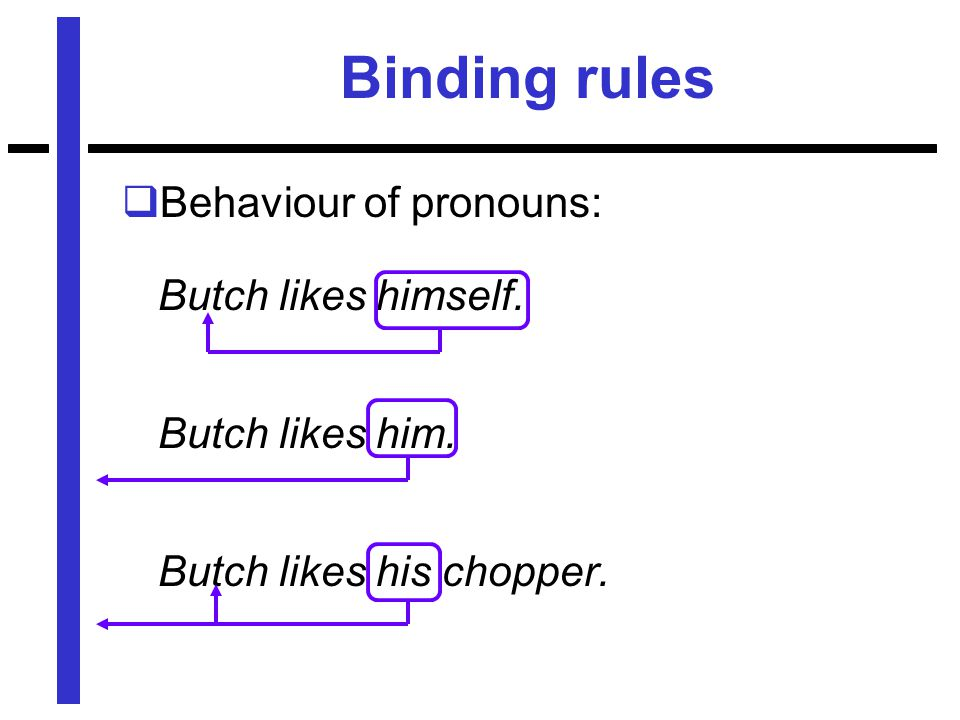 Binding rules  Behaviour of pronouns: Butch likes himself.
