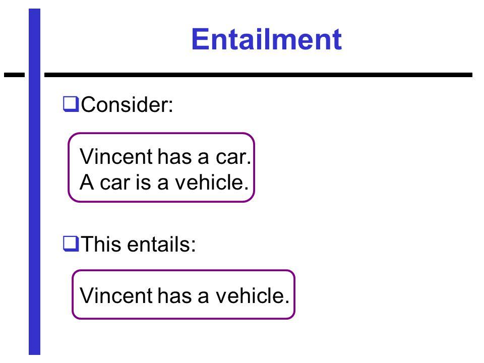 Entailment  Consider: Vincent has a car. A car is a vehicle.  This entails: Vincent has a vehicle.