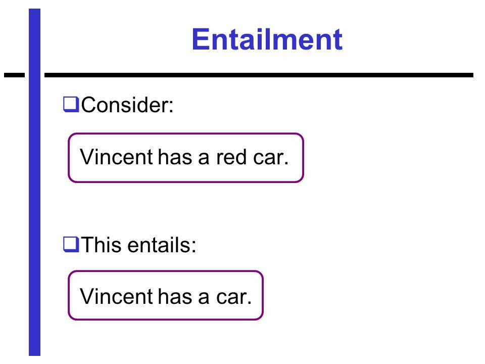 Entailment  Consider: Vincent has a red car.  This entails: Vincent has a car.