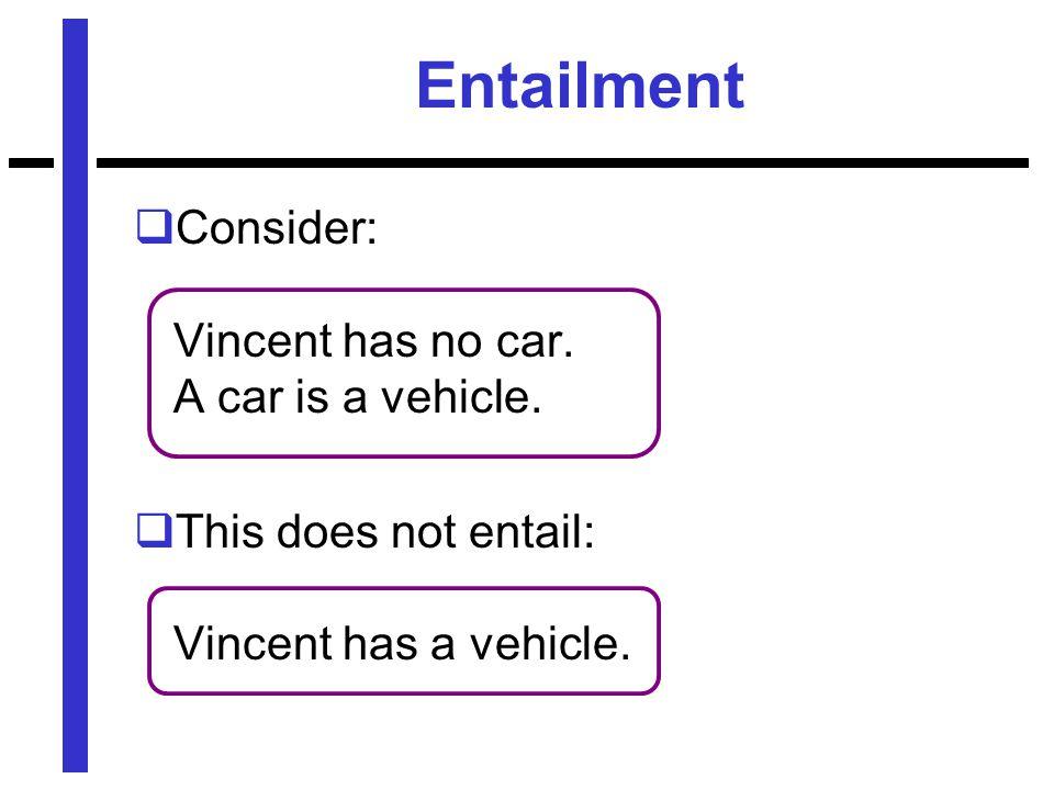 Entailment  Consider: Vincent has no car. A car is a vehicle.  This does not entail: Vincent has a vehicle.