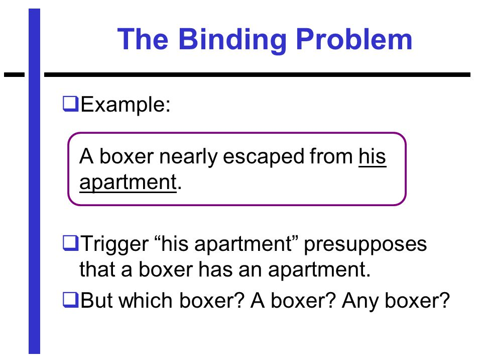 The Binding Problem  Example: A boxer nearly escaped from his apartment.