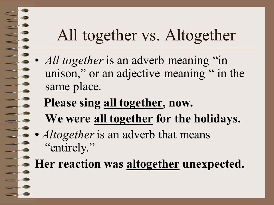 All together vs.