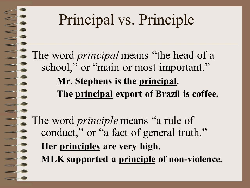 """Principal vs. Principle The word principal means """"the head of a school,"""" or """"main or most important."""" Mr. Stephens is the principal. The principal exp"""