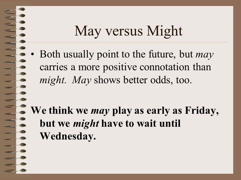 May versus Might Both usually point to the future, but may carries a more positive connotation than might.
