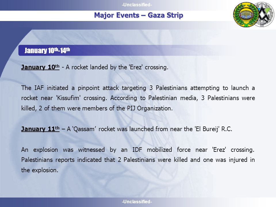 -Unclassified- Major Events – Gaza Strip January 10 th -14 th January 10 th - A rocket landed by the Erez crossing.