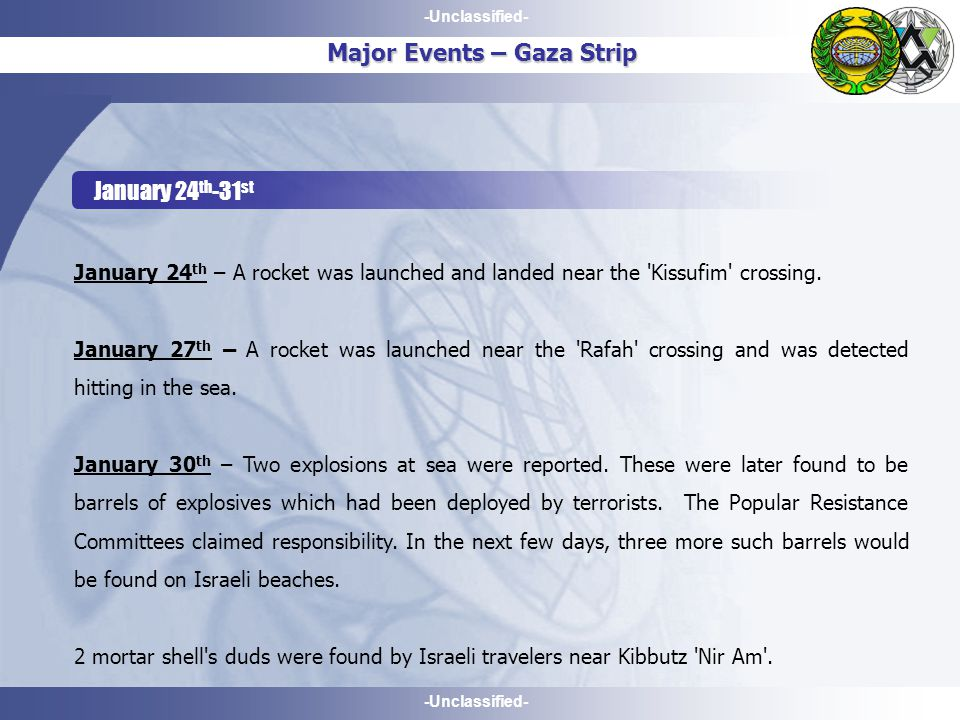 -Unclassified- January 24 th -31 st Major Events – Gaza Strip January 24 th – A rocket was launched and landed near the Kissufim crossing.