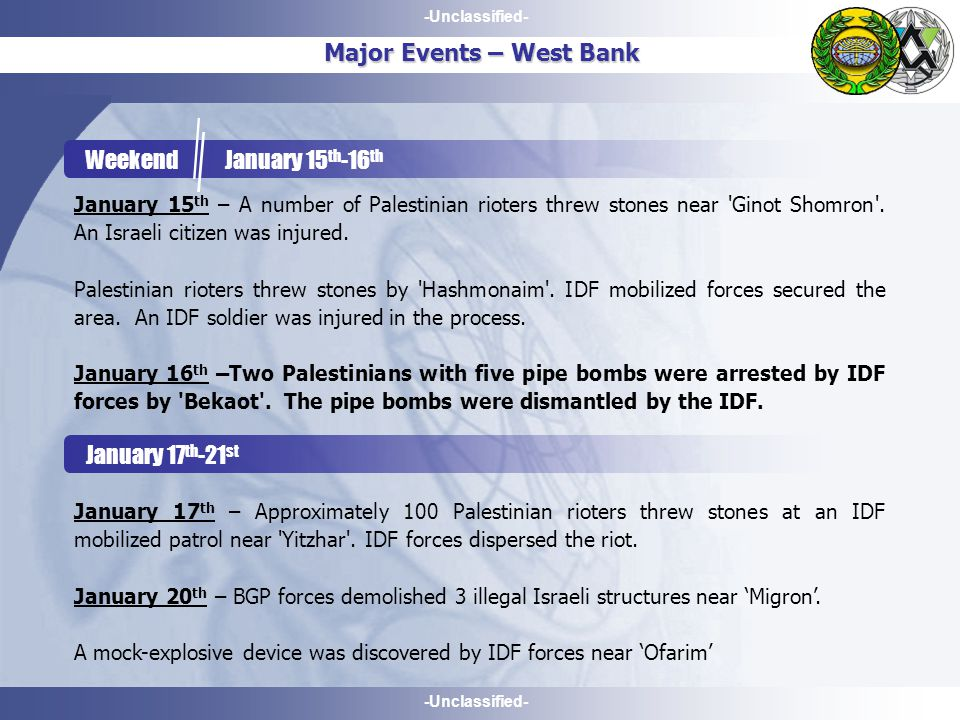 -Unclassified- Major Events – West Bank Weekend January 15 th -16 th January 15 th – A number of Palestinian rioters threw stones near Ginot Shomron .