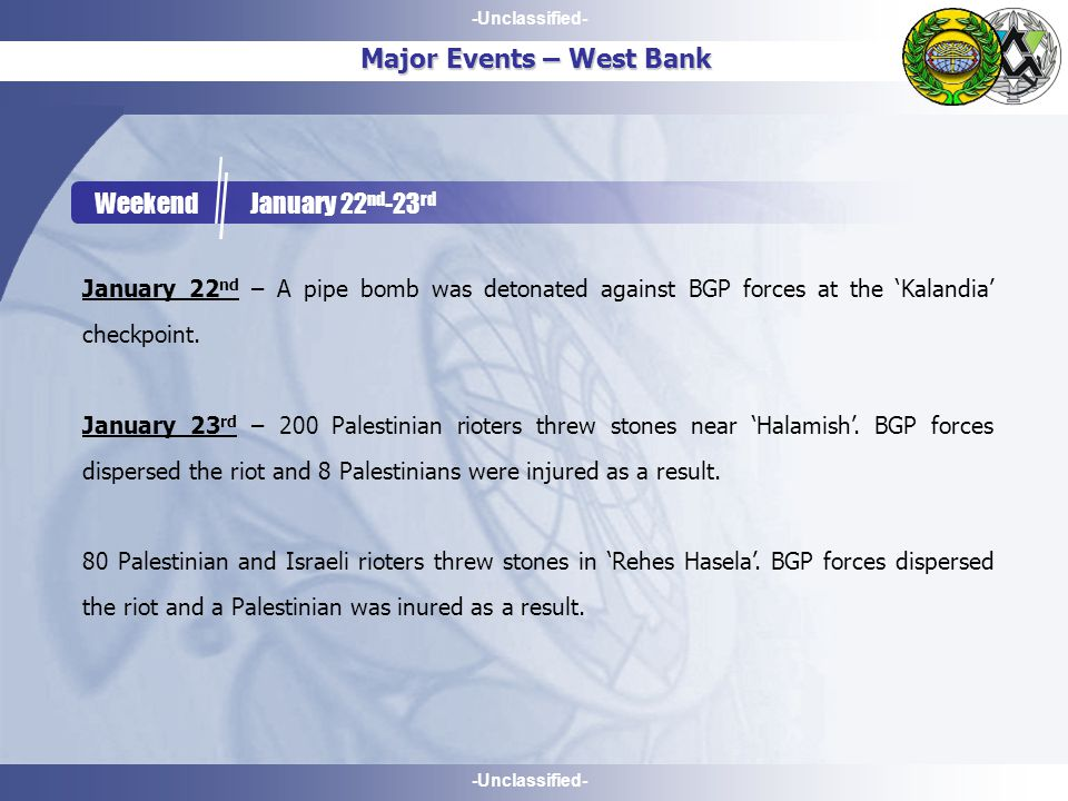 -Unclassified- Major Events – West Bank Weekend January 22 nd -23 rd January 22 nd – A pipe bomb was detonated against BGP forces at the 'Kalandia' checkpoint.
