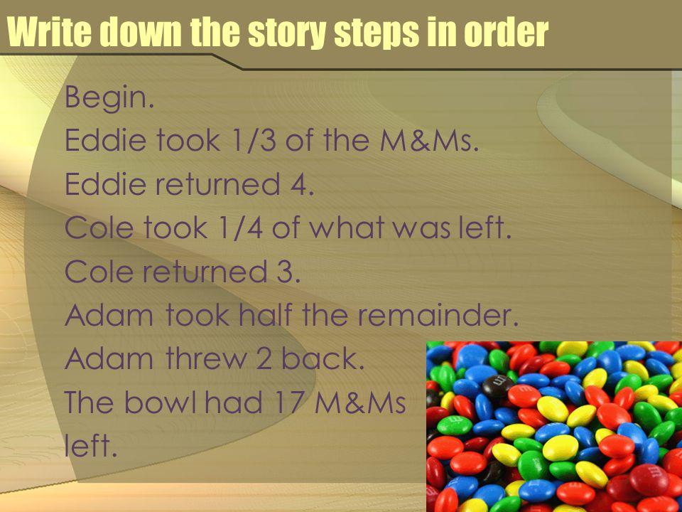 Write down the story steps in order Begin. Eddie took 1/3 of the M&Ms.