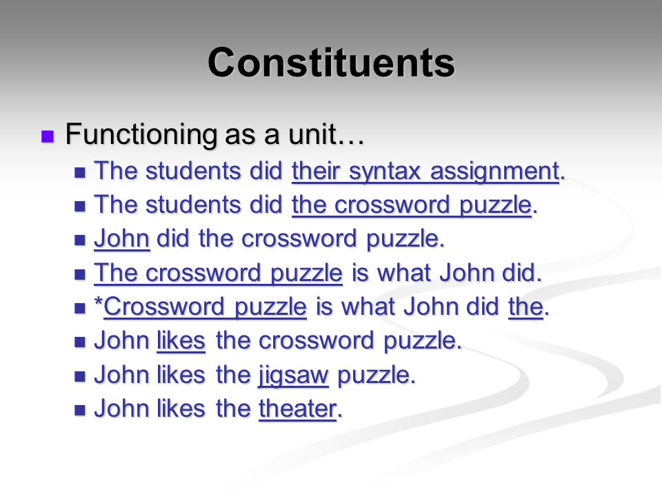Constituents Functioning as a unit… Functioning as a unit… The students did their syntax assignment. The students did their syntax assignment. The stu