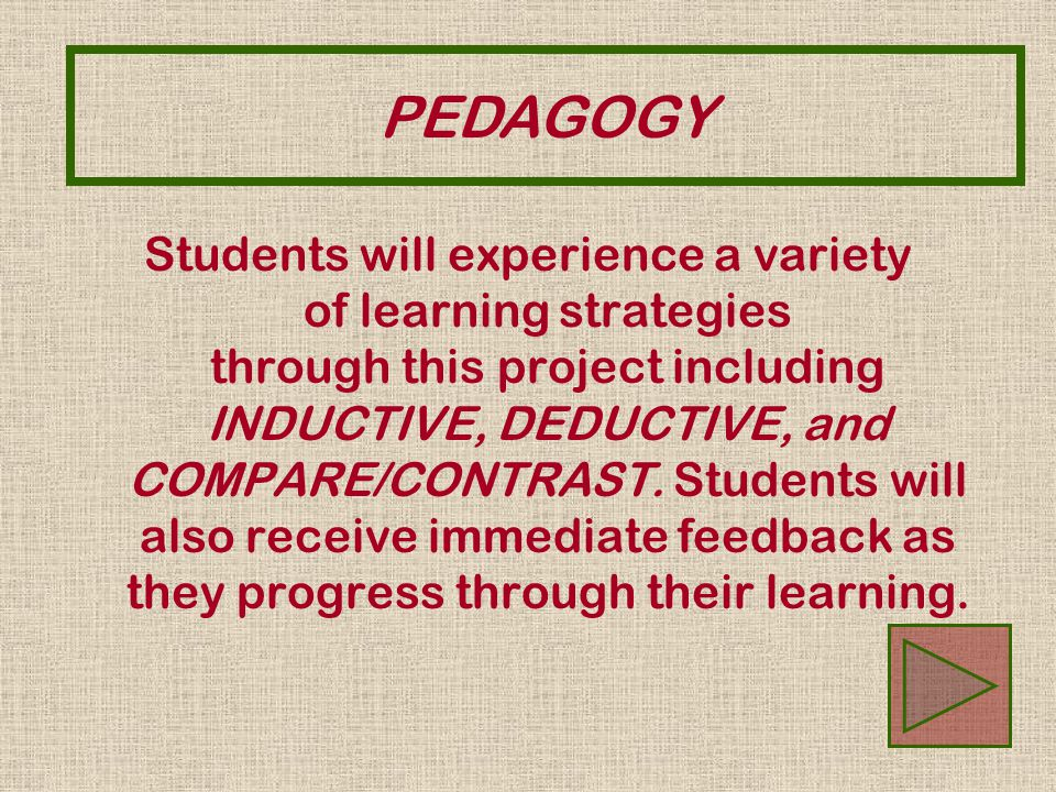 Students will experience a variety of learning strategies through this project including INDUCTIVE, DEDUCTIVE, and COMPARE/CONTRAST. Students will als