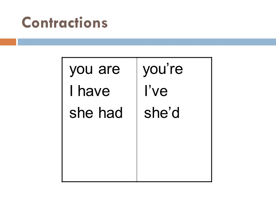 Contractions you are I have she had you're I've she'd