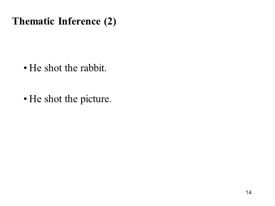14 Thematic Inference (2) He shot the rabbit. He shot the picture.