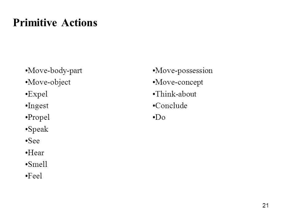 21 Primitive Actions Move-body-part Move-object Expel Ingest Propel Speak See Hear Smell Feel Move-possession Move-concept Think-about Conclude Do