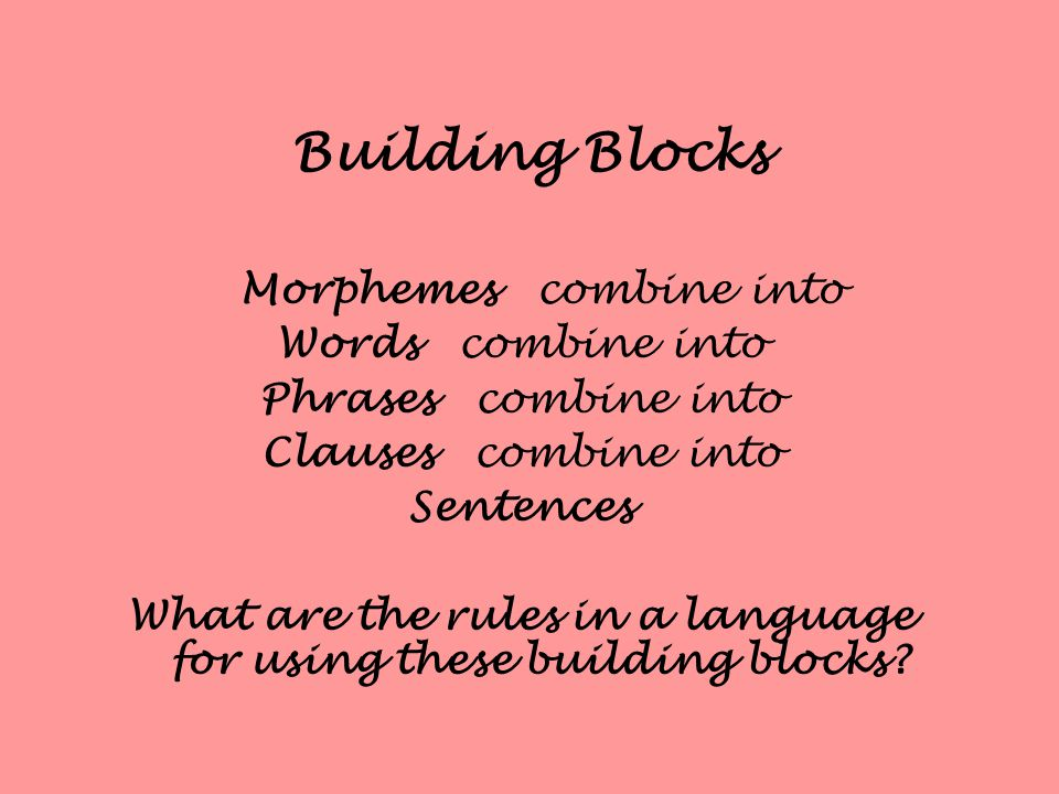 Building Blocks Morphemes combine into Words combine into Phrases combine into Clauses combine into Sentences What are the rules in a language for using these building blocks