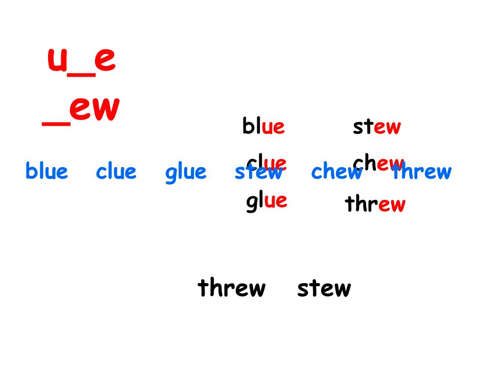 blue clue glue stew chew threw blue clue glue stew chew threwblue clue glue stew chew threw threw stew u_e _ew