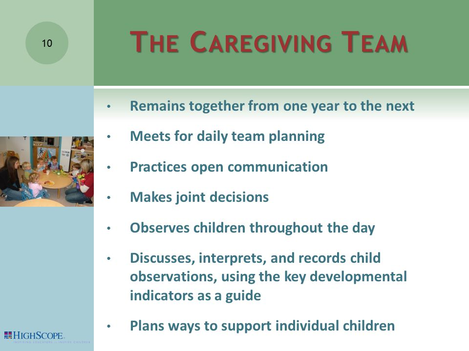 T HE C AREGIVING T EAM Remains together from one year to the next Meets for daily team planning Practices open communication Makes joint decisions Observes children throughout the day Discusses, interprets, and records child observations, using the key developmental indicators as a guide Plans ways to support individual children 10