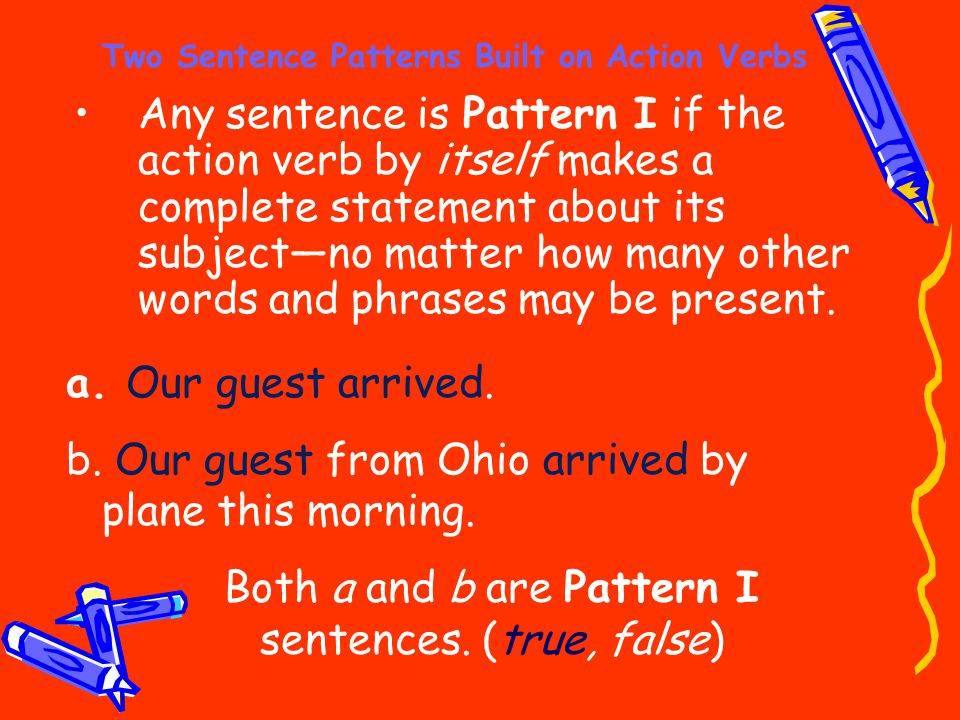 Two Sentence Patterns Built on Action Verbs Any sentence is Pattern I if the action verb by itself makes a complete statement about its subject—no mat