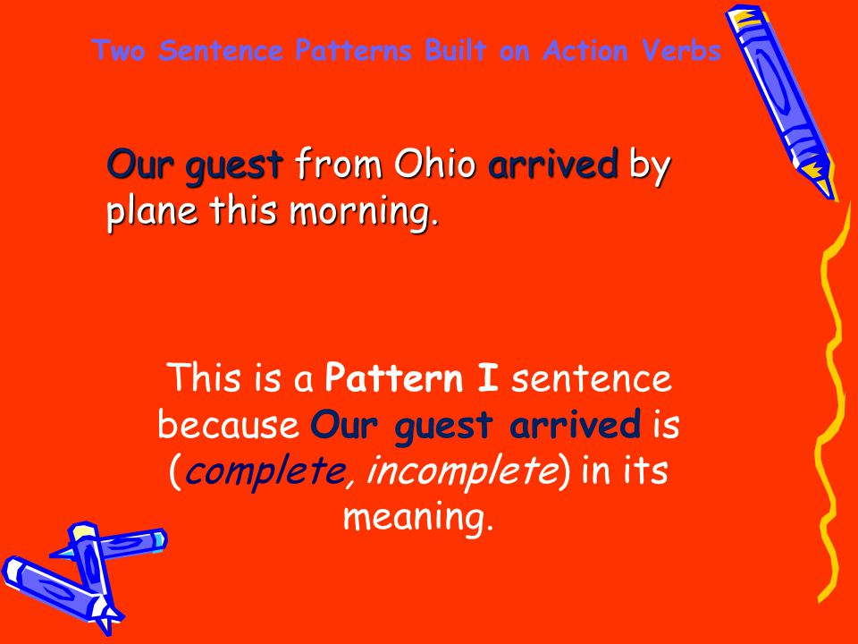 Two Sentence Patterns Built on Action Verbs Our guest from Ohio arrived by plane this morning. This is a Pattern I sentence because Our guest arrived