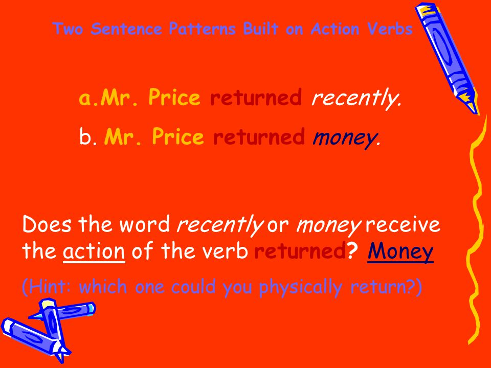 Two Sentence Patterns Built on Action Verbs a.Mr. Price returned recently. b. Mr. Price returned money. Does the word recently or money receive the ac