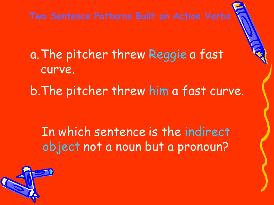 Two Sentence Patterns Built on Action Verbs a.The pitcher threw Reggie a fast curve. b.The pitcher threw him a fast curve. In which sentence is the in