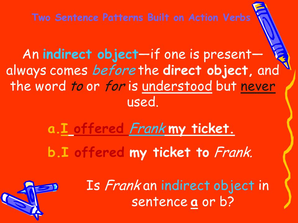 Two Sentence Patterns Built on Action Verbs An indirect object—if one is present— always comes before the direct object, and the word to or for is und