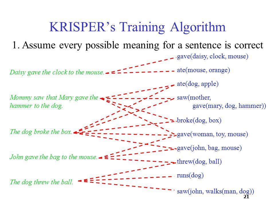 21 saw(john, walks(man, dog)) KRISPER's Training Algorithm Daisy gave the clock to the mouse.