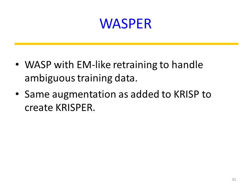 WASPER WASP with EM-like retraining to handle ambiguous training data.