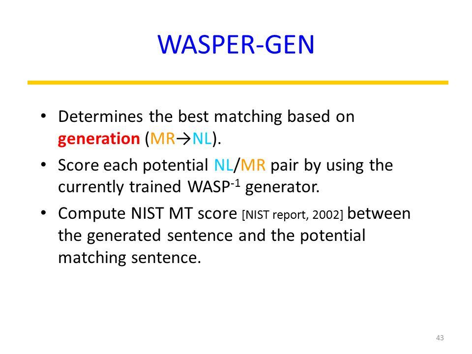 WASPER-GEN Determines the best matching based on generation (MR→NL).