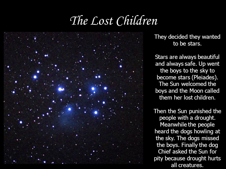 The Lost Children They decided they wanted to be stars. Stars are always beautiful and always safe. Up went the boys to the sky to become stars (Pleia