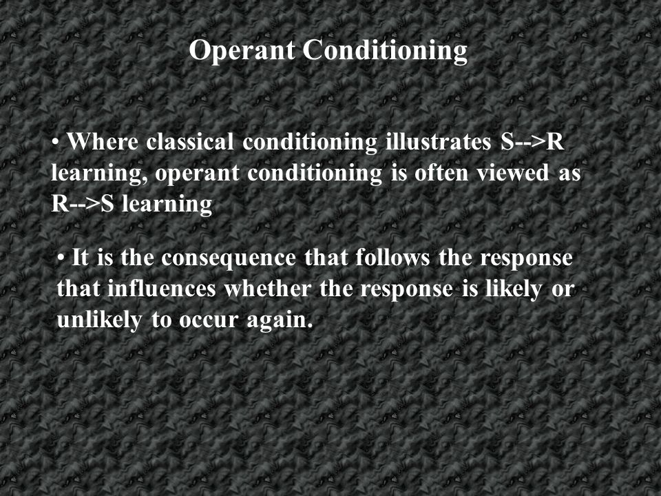 Operant Conditioning The three-term model of operant conditioning (S--> R -->S) incorporates the concept that responses cannot occur without an environmental event (e.g., an antecedent stimulus) preceding it.