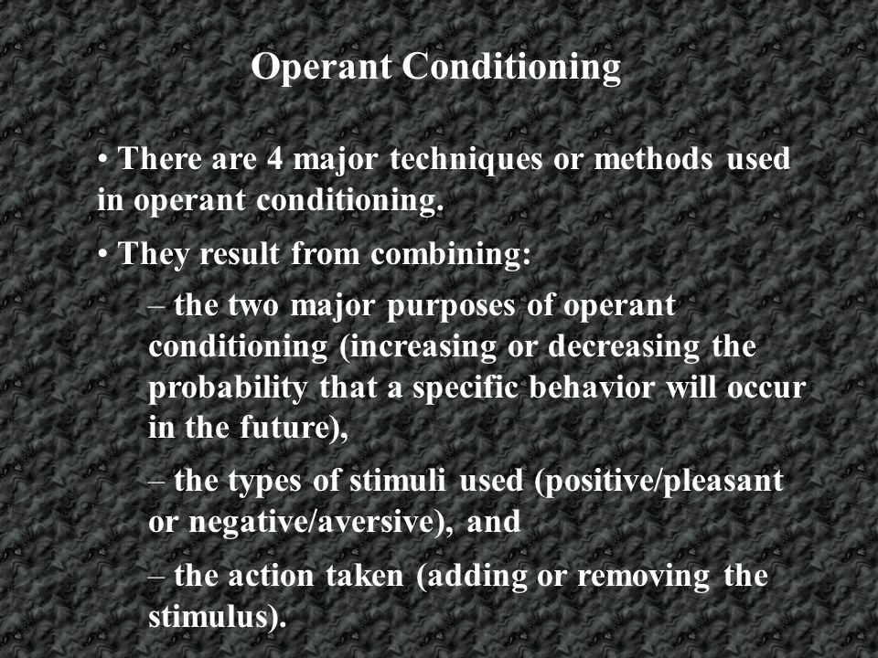 Operant Conditioning Outcomes of Conditioning Increase Behavior Decrease Behavior Stimulus Positive/ pleasant Negative/ Aversive Add Positive Reinforcement Subtract Response Cost Subtract Negative Reinforcement Add Punishment
