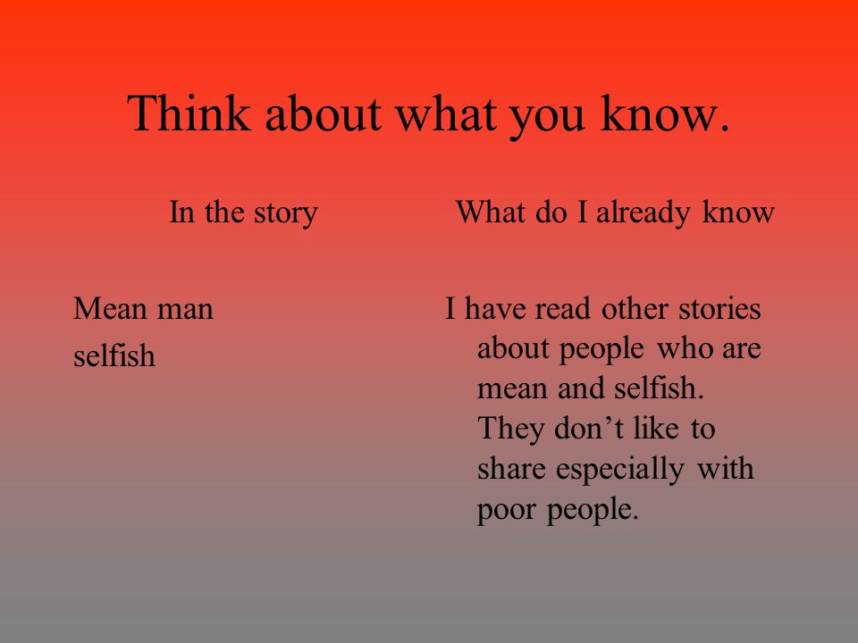 Think about what you know.