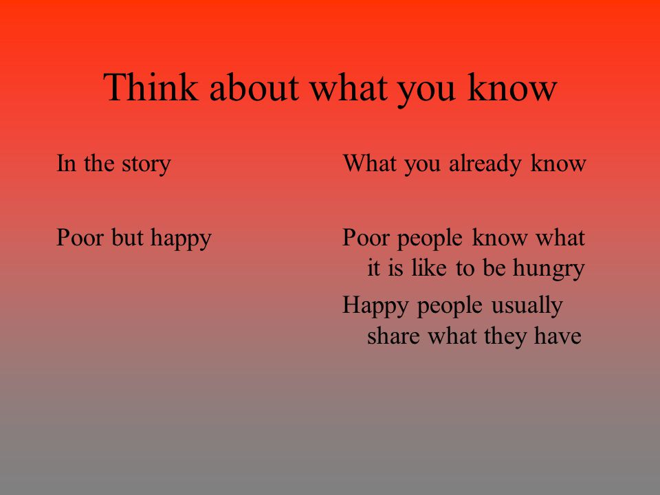 Think about what you know In the story Poor but happy What you already know Poor people know what it is like to be hungry Happy people usually share what they have