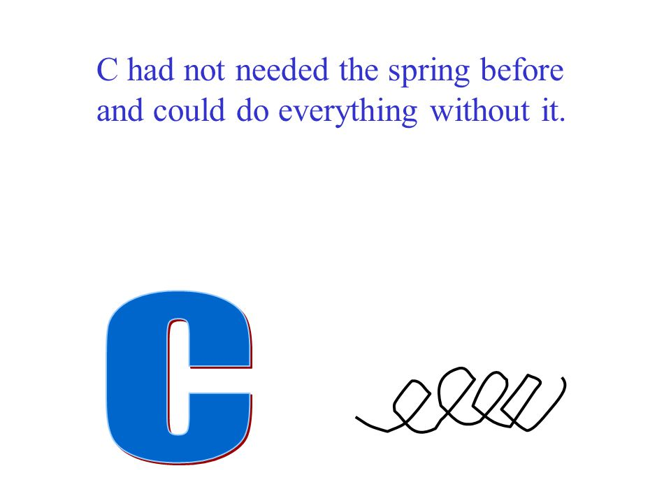 C had not needed the spring before and could do everything without it.