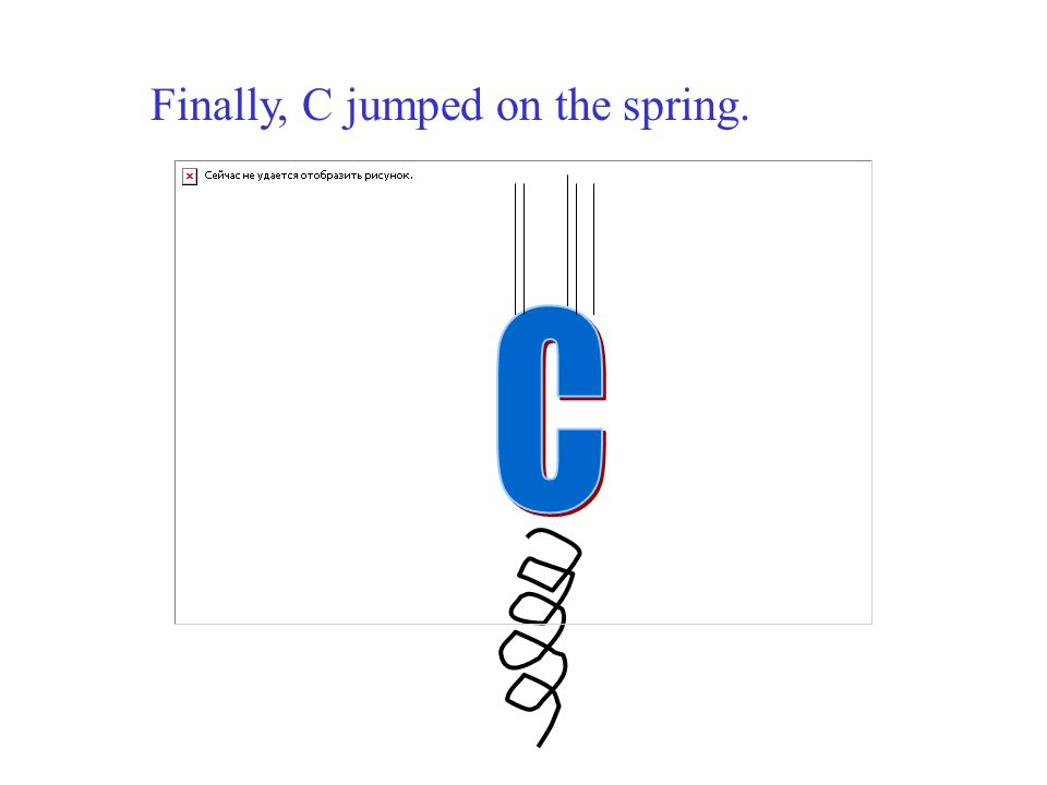 Finally, C jumped on the spring.