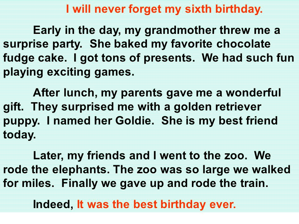 I will never forget my sixth birthday. Early in the day, my grandmother threw me a surprise party.