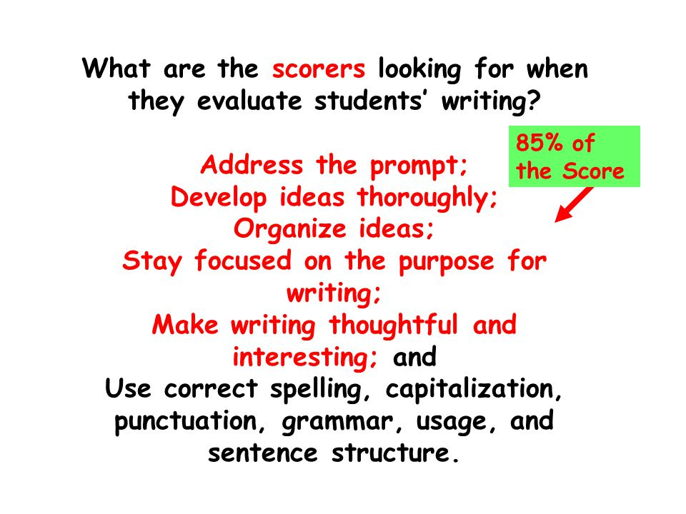 What are the scorers looking for when they evaluate students' writing.