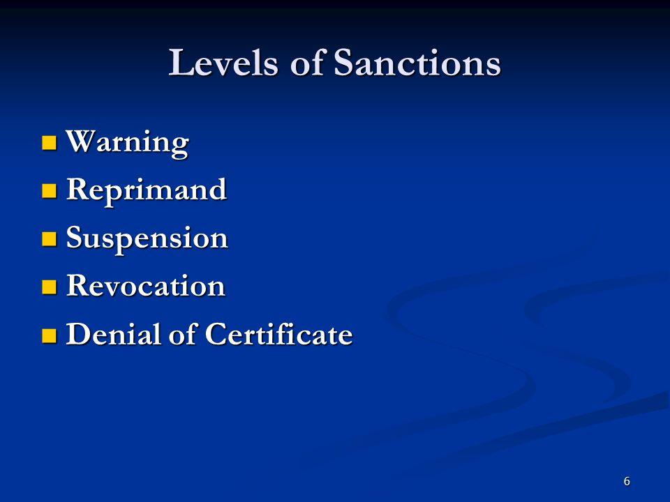 Levels of Sanctions Warning Warning Reprimand Reprimand Suspension Suspension Revocation Revocation Denial of Certificate Denial of Certificate 6