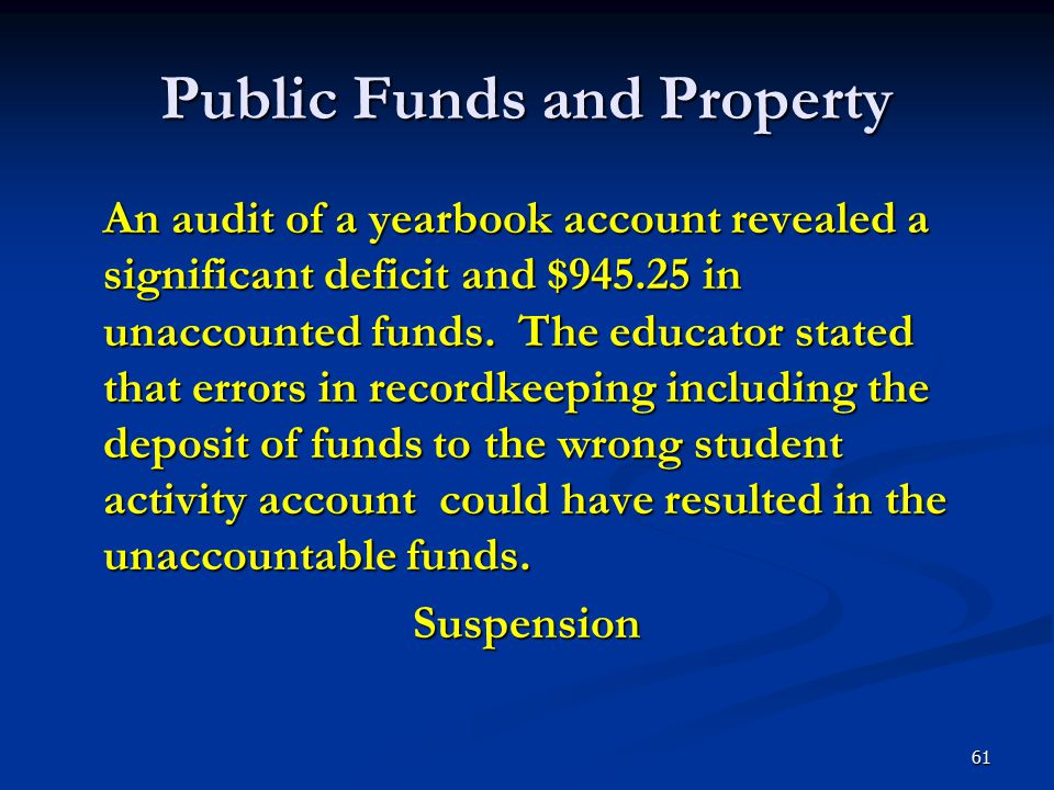 Public Funds and Property An audit of a yearbook account revealed a significant deficit and $945.25 in unaccounted funds. The educator stated that err