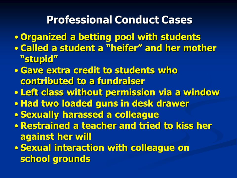 """Organized a betting pool with studentsOrganized a betting pool with students Called a student a """"heifer"""" and her mother """"stupid""""Called a student a """"he"""