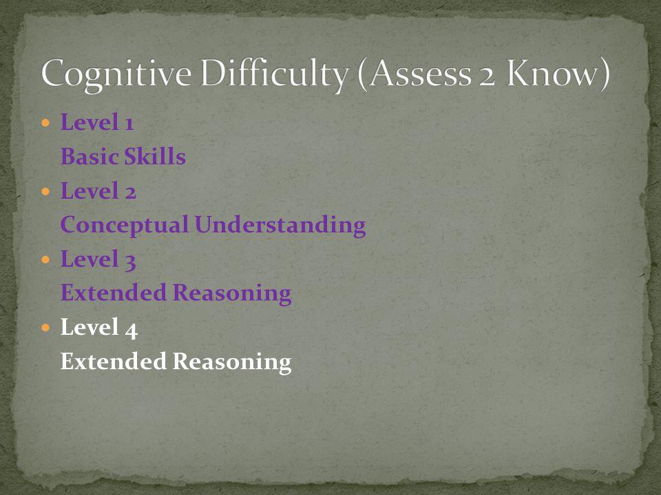 Level 1 Basic Skills Level 2 Conceptual Understanding Level 3 Extended Reasoning Level 4 Extended Reasoning