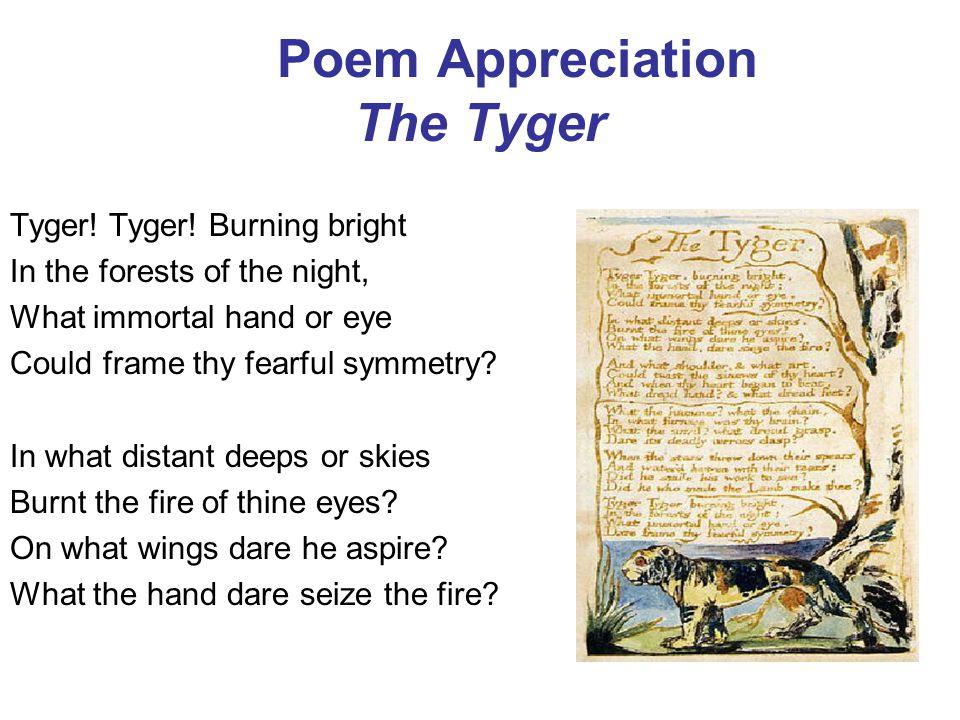 Poem Appreciation The Tyger Tyger.Tyger.