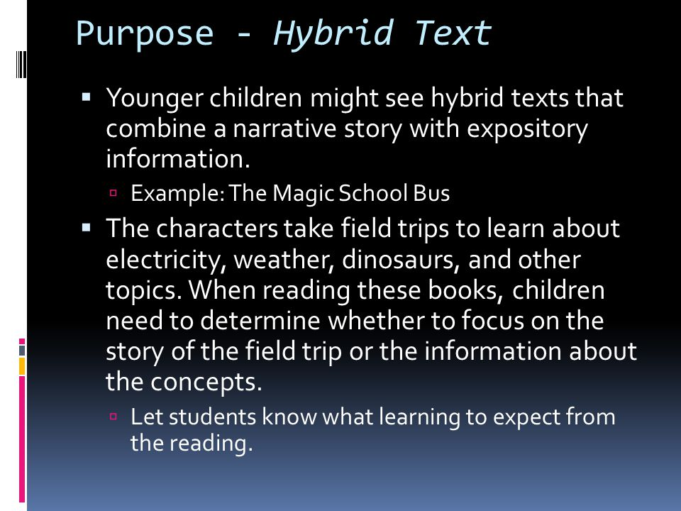 Establish Purpose  What kind of text is it.