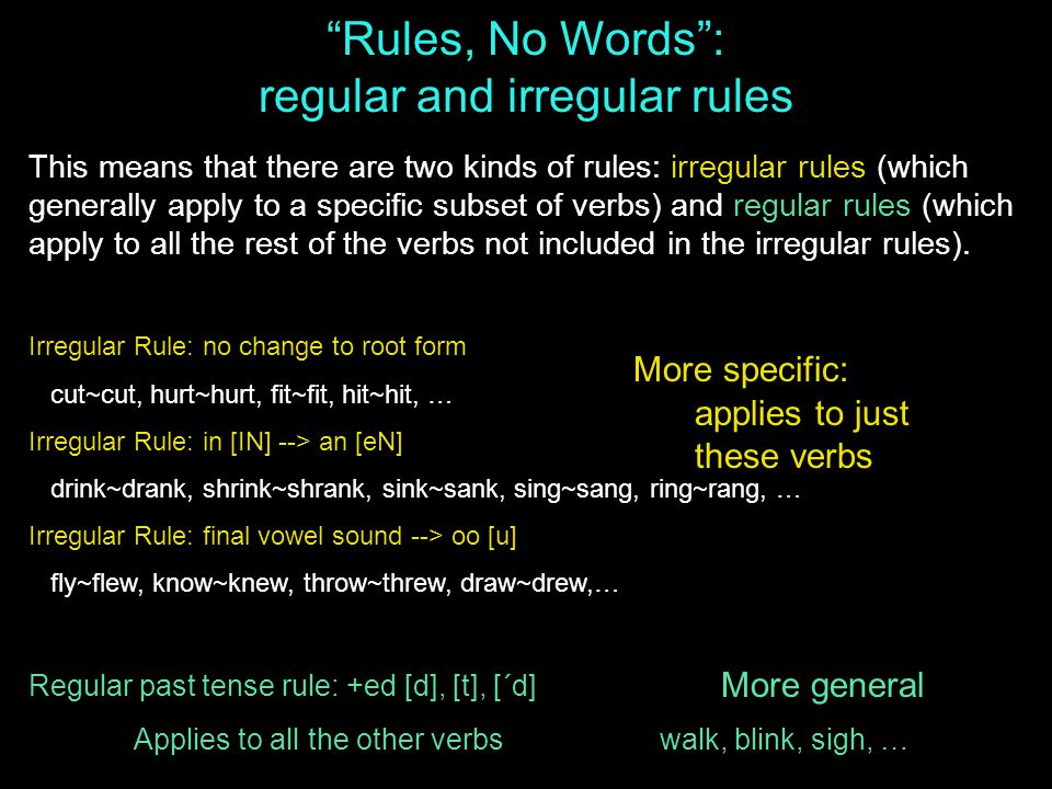 This means that there are two kinds of rules: irregular rules (which generally apply to a specific subset of verbs) and regular rules (which apply to all the rest of the verbs not included in the irregular rules).