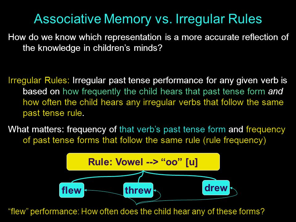 Associative Memory vs. Irregular Rules How do we know which representation is a more accurate reflection of the knowledge in children's minds? Irregul