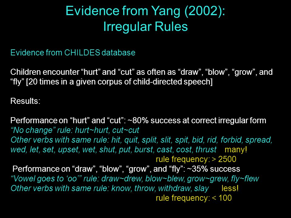 Evidence from CHILDES database Children encounter hurt and cut as often as draw , blow , grow , and fly [20 times in a given corpus of child-directed speech] Results: Performance on hurt and cut : ~80% success at correct irregular form No change rule: hurt~hurt, cut~cut Other verbs with same rule: hit, quit, split, slit, spit, bid, rid, forbid, spread, wed, let, set, upset, wet, shut, put, burst, cast, cost, thrust many.
